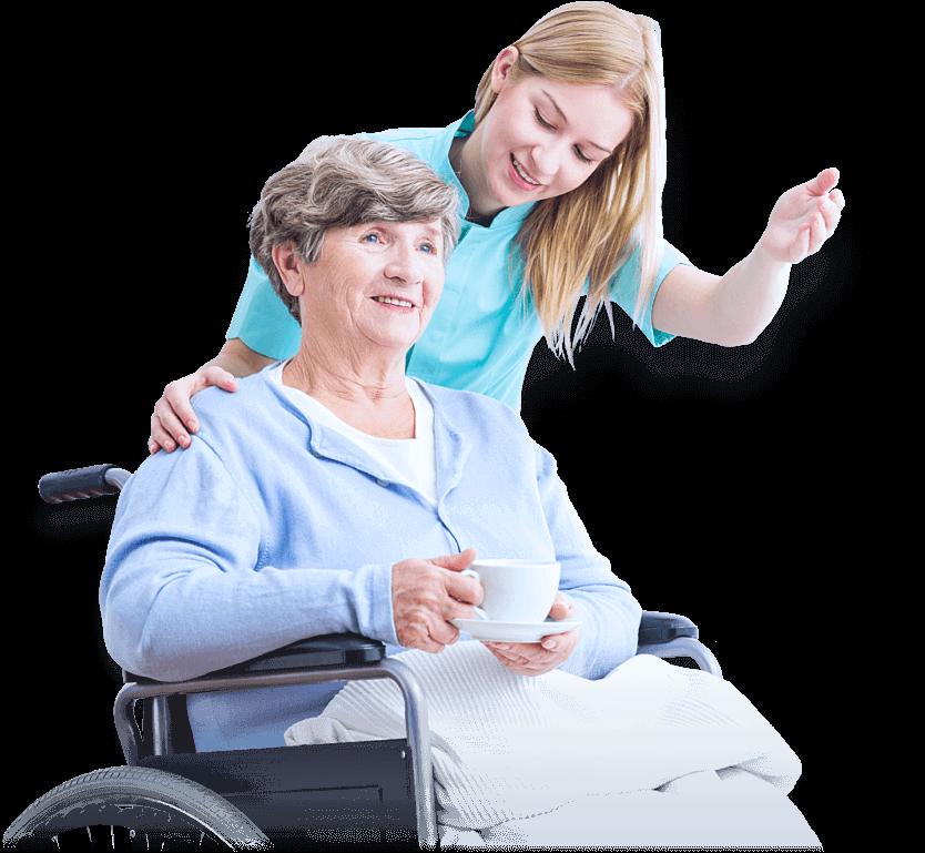 elder woman in wheechair beside caretaker